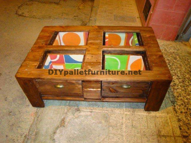 Muebles de palets: Mesa para el salón con cajones incorporados ...