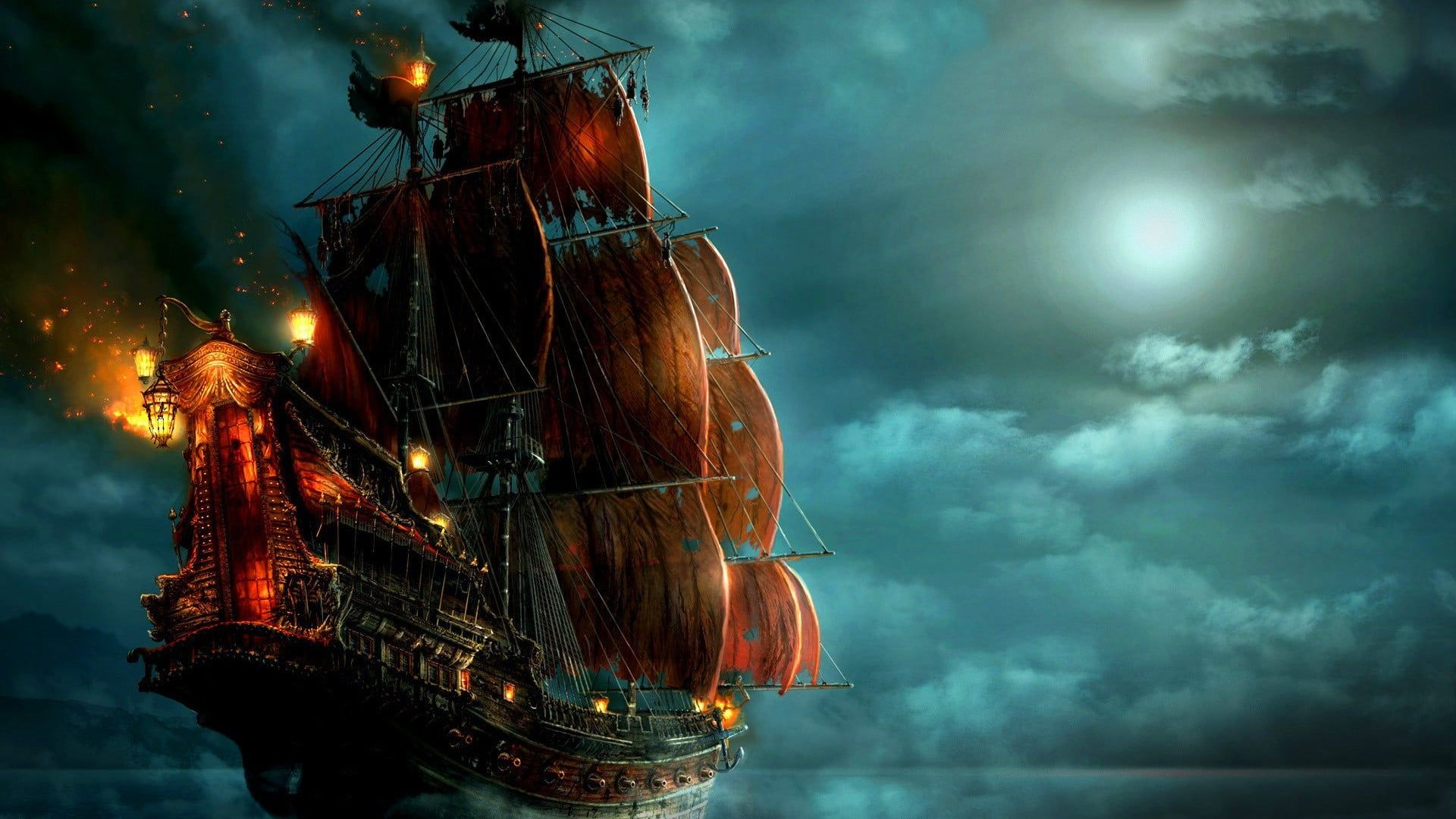 Black And Red Pirate Ship Illustration Pirates Ship Night