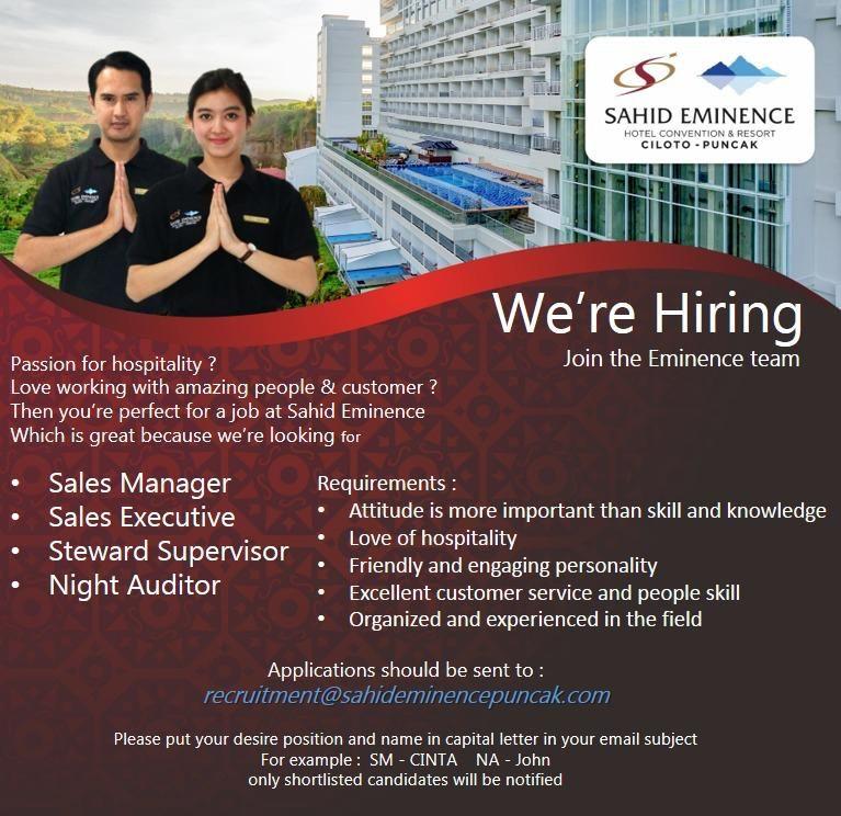 Multiple Hospitality Job Openings Indonesia Job opening