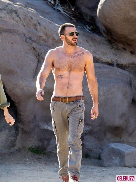 Scruffy Shirtless Chris Evans Gets Flirty Looking Good Captain
