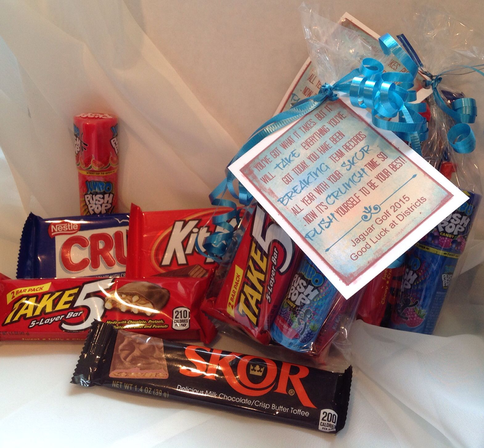 golf favor goodie bag good luck  candy bars  crunch kitkat skor push pop