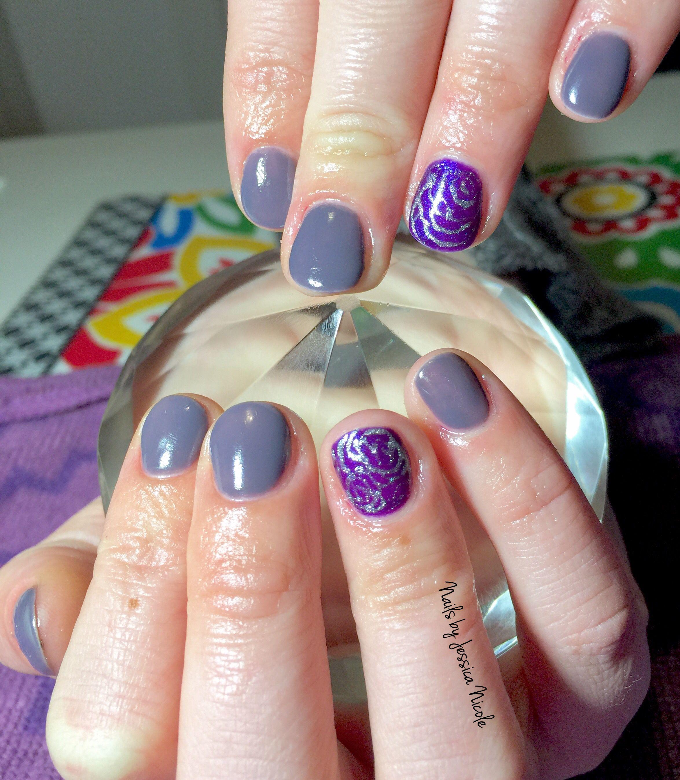 gorgeous purple & silver gel polish mani | acrylic & gel nail art