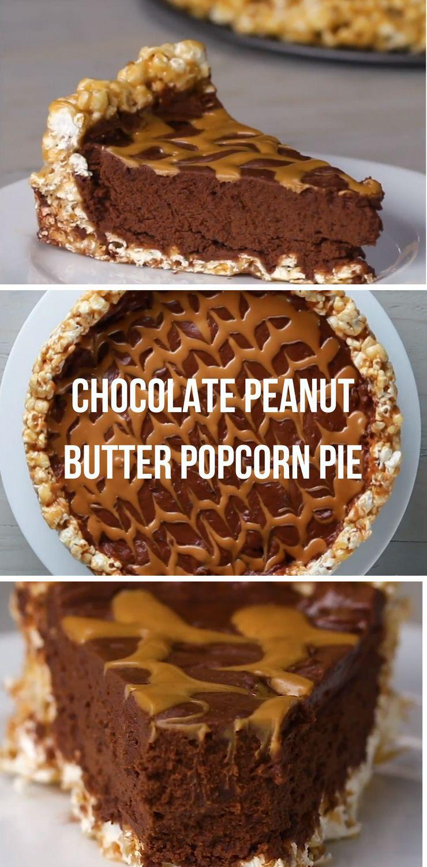 Chocolate Peanut Butter Popcorn Pie Best Kids Video Recipe #kids #pie #dessert