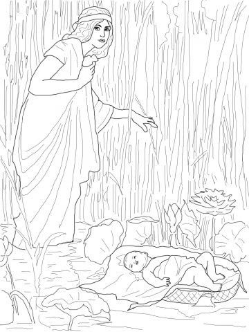 Jochebed Put Baby Moses in the Nile Coloring page | illust ...