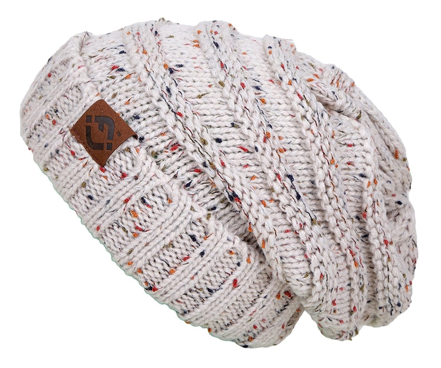 e2767db8520 Funky Junque s FJ Knit Cap Women s Men s Winter Hat Oversized Slouchy Beanie  - Oatmeal -