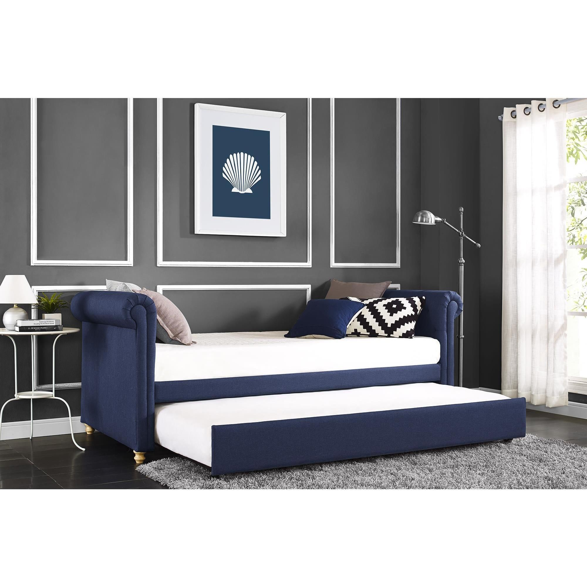 Create a cozy lounge space with DHP's Sophia Daybed and Trundle. Its  slightly sleighed arms