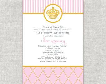 Pink Princess Birthday Invitation Royal by paperimpressions