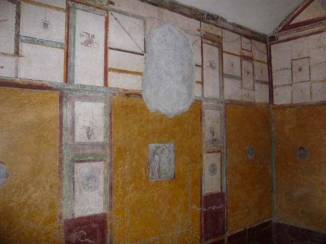 Pompeii ~ Casa degli Amorini Dorati or House of the Golden Cupids or Domus Cn. Poppaei Habiti or House of Gnaeus Poppaeus Habitus ~ Excavated 1903-5 ~  Room R, south wall, after restoration. June 2013