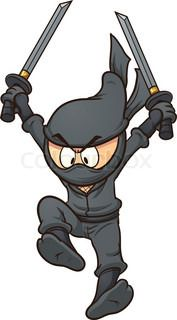 Cartoon ninja jumping. Vector clip art illustration with simple gradients. All in a single layer. | vector_preview_title | Colourbox on Colourbox