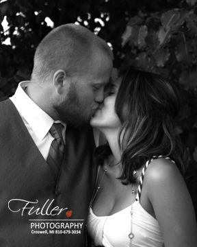 Black and white version of wedding photo Fuller Photography Croswell