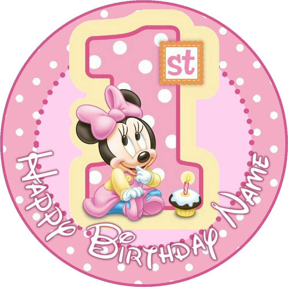 Sensational Details About Edible Baby Minnie Mouse Cake Topper 1St Birthday Funny Birthday Cards Online Alyptdamsfinfo