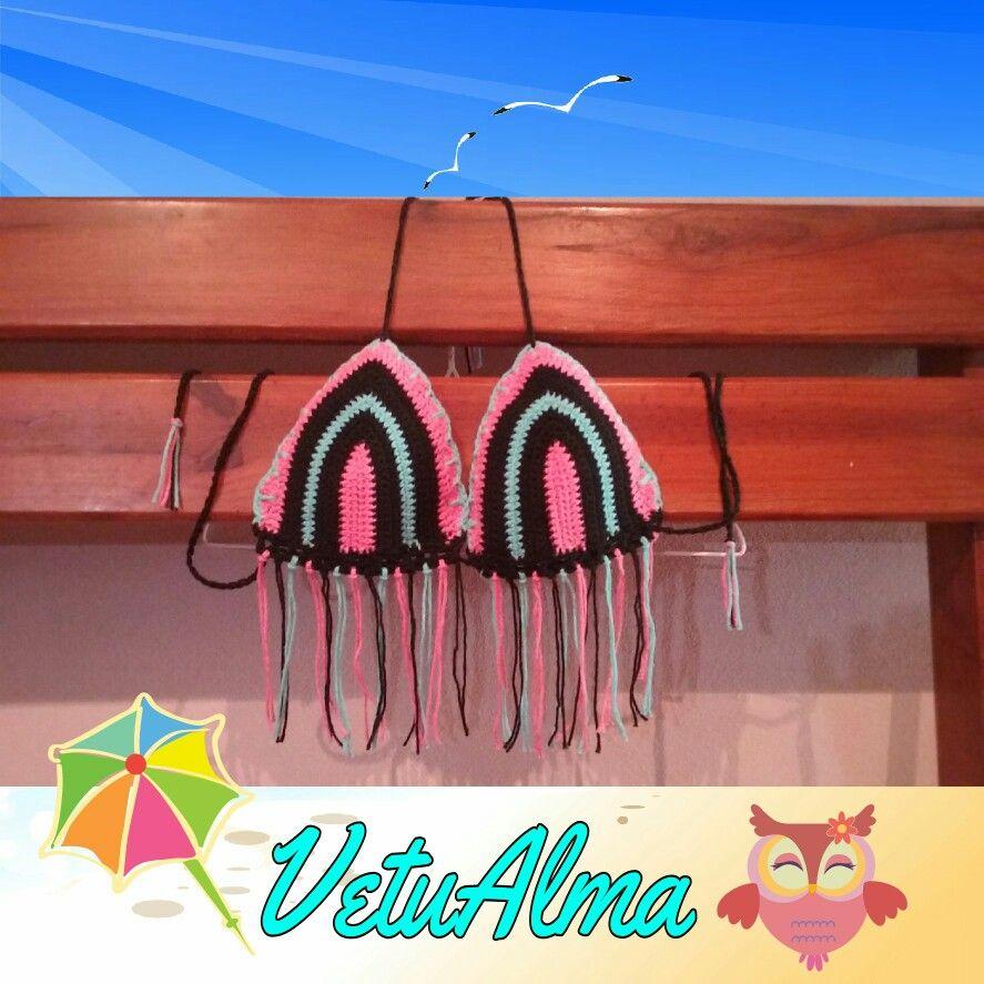 Bikini tricolor con flecos. Made in Argentina por VetuॐAlma