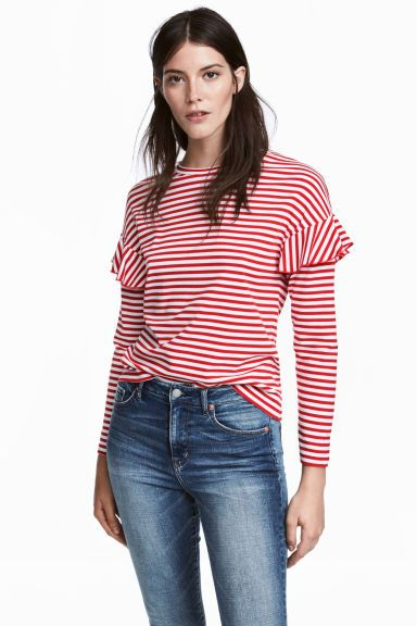 bc22ca39c45 Jersey top with frills - Red White striped - Ladies