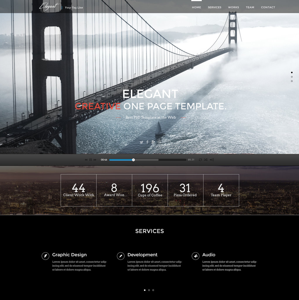 Free Elegant Single Page Website Template | Pinterest