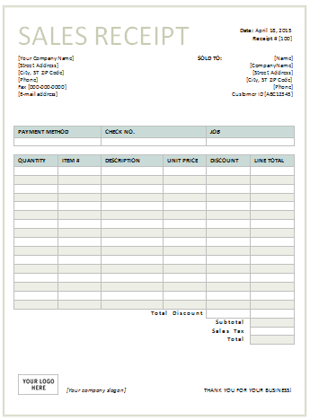 Sales Receipt Template for Excel | Bible study help | Pinterest ...