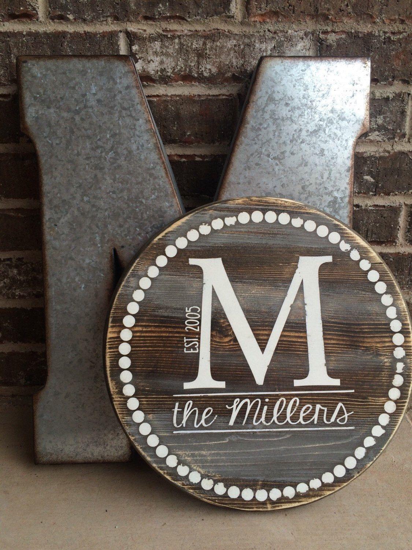 Circle Monogram Letters Wall Hanger-Metal Monogram Sign-Wedding Gift-Housewarming Gift-Anniversary Metal Sign Metal Sign,