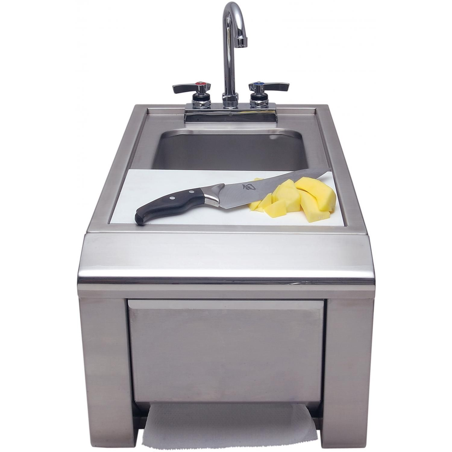 Alfresco 14 Inch Outdoor Rated Prep And Wash Sink With Towel Dispenser    ASK T