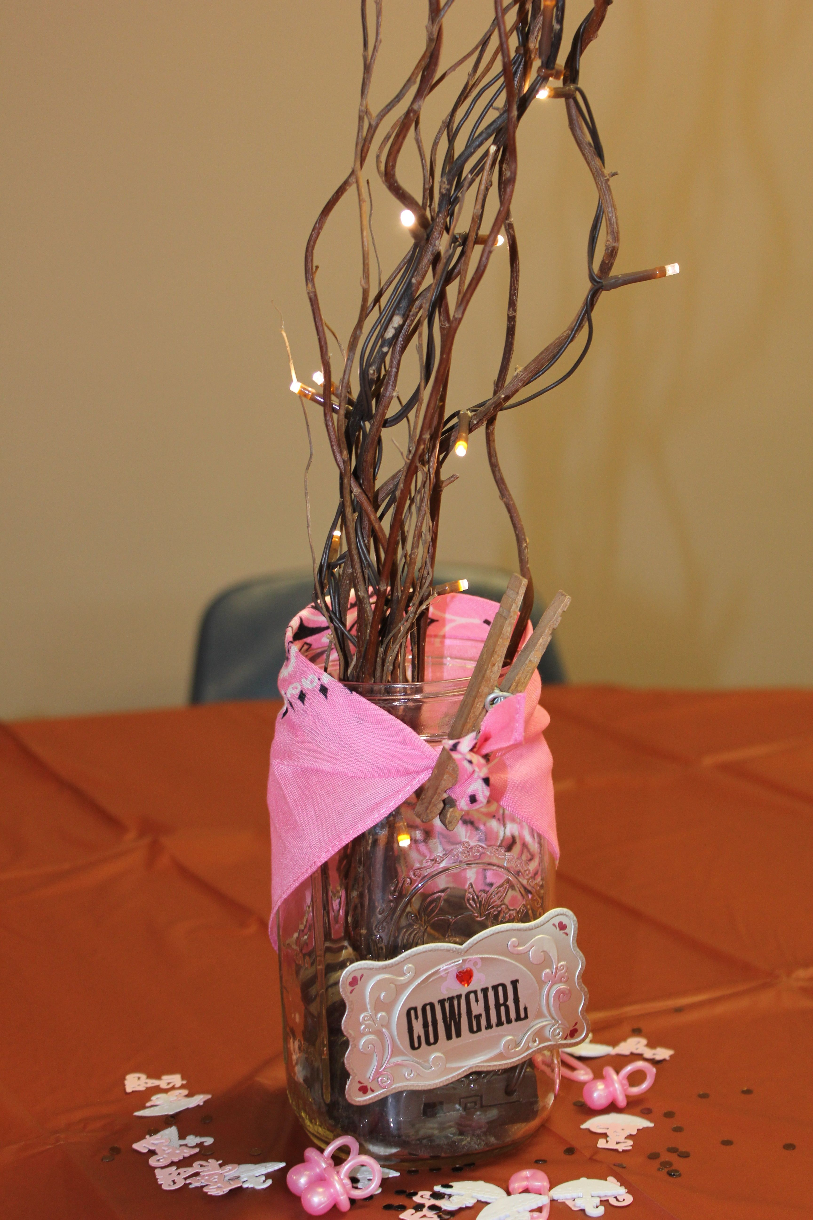Centerpieces For Cowgirl Baby Shower Love The Pink