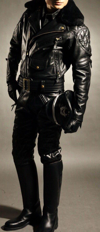 Black leather uniform gloves - Full Leather Uniform