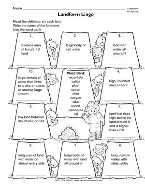 Worksheet Landforms