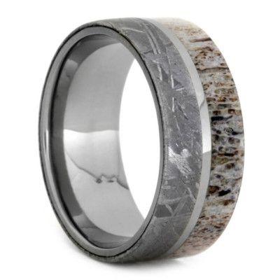 Deer Antler And Titanium Meteorite Wedding Band, Size 9.25-RS9320