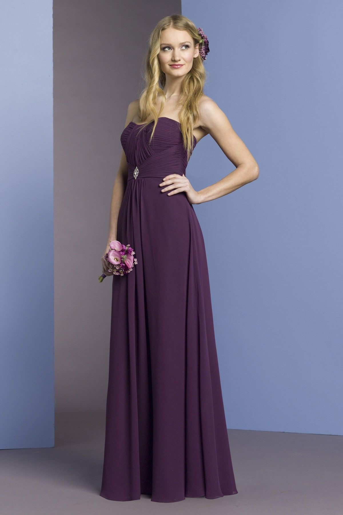 Strapless Aline chiffon bridesmaid dress 139.67 Purple