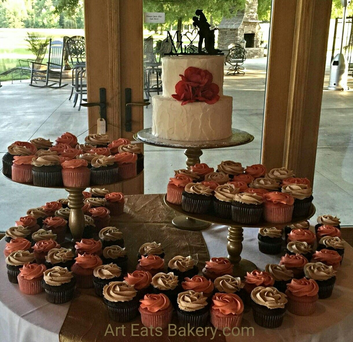 Wedding Cakes Inspired By China Patterns: Two Tier Stucco Custom Buttercream Wedding Cake With Coral