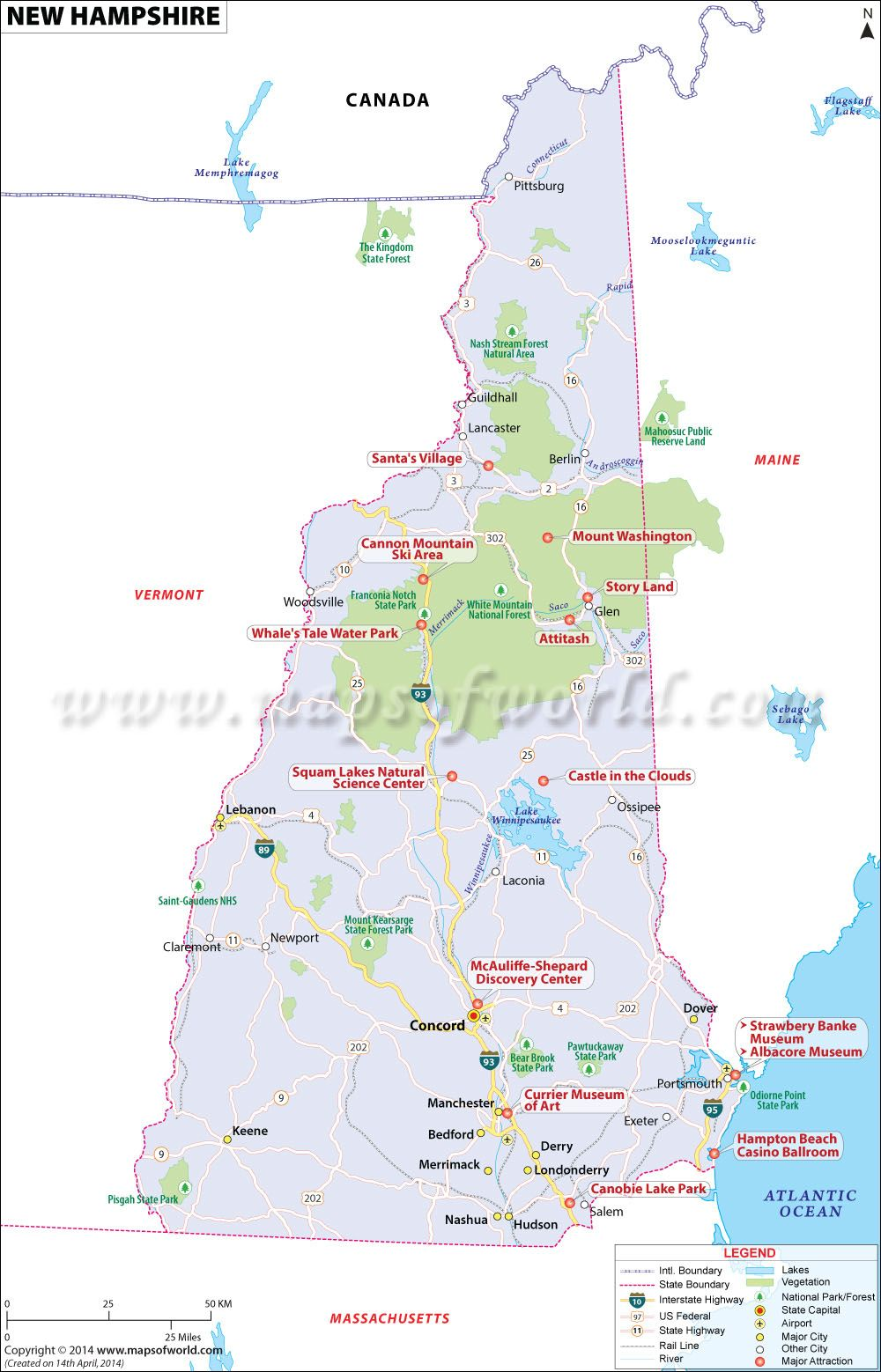 New Hampshire map showing the major travel attractions including