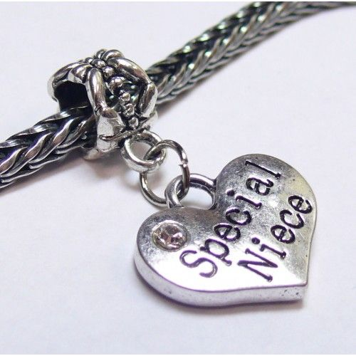 Dangle Heart Charm | Heart Charm w/ Crystal | Special Niece | Fits Most Charm Bracelets
