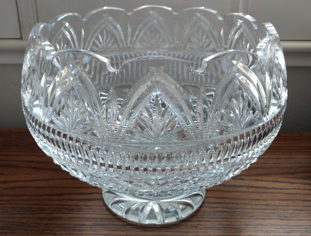 Rare Waterford Designers Gallery Collection Crystal Wedding Bowl 9 Footed