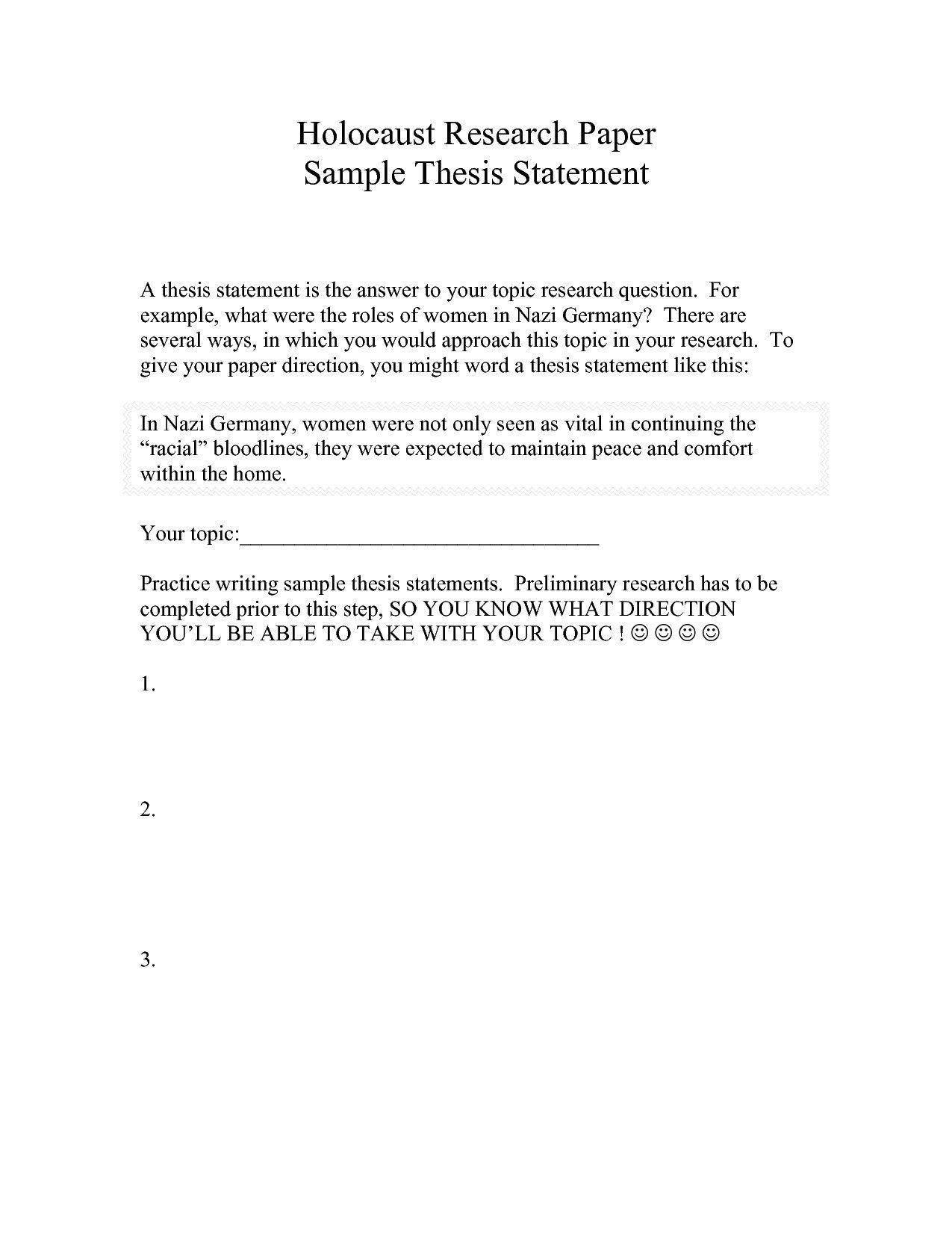 Thesis Statement Practice Worksheet Example Of A Thesis