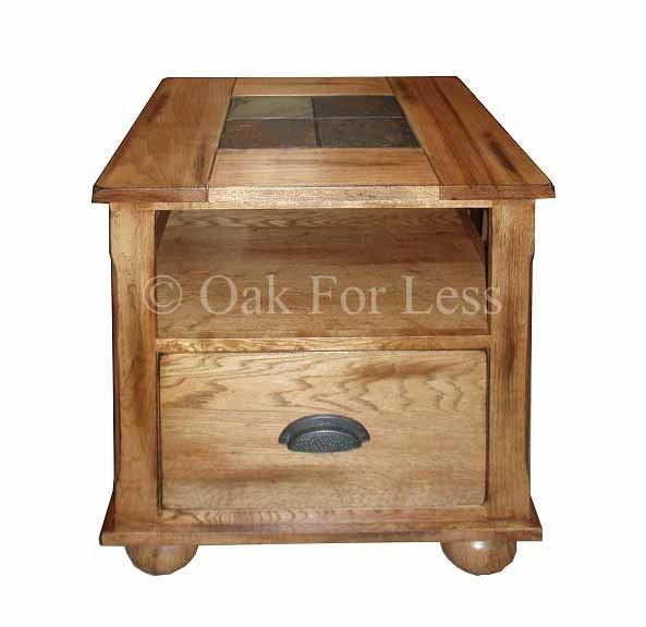 SD 3163RO E   Sedona Rustic Oak End Table With Slate Inlay Top