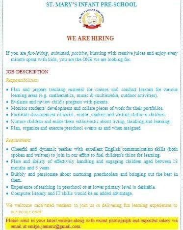We Are Hiring Vacancies Are Now Open For A Preschool Kindergarten