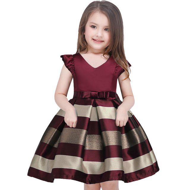 67004b7e2a63 O vestido da menina Novo arco listras vestido de princesa das meninas Do  Bebê menina recepção formal vestidos vestido de festa menina 2017 roupas de  Natal