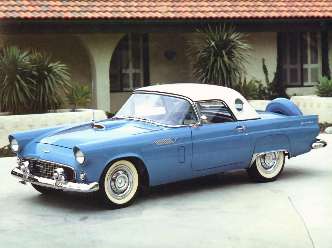 Cars 1956 ford thunderbird roadster with port hole hardtop blue fvl