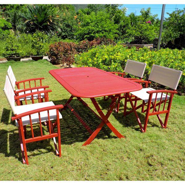 International Caravan Acacia Hardwood Outdoor Folding Dining Set (Set of 5)