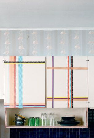 diy: kitchen cabinets with washi tape décor | washi, kitchens and