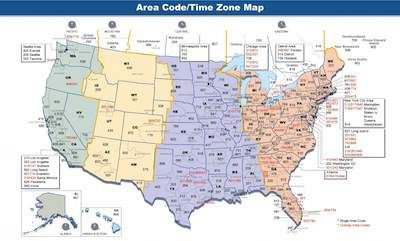Time zones map of US showing EST CST MST PST. Time ...