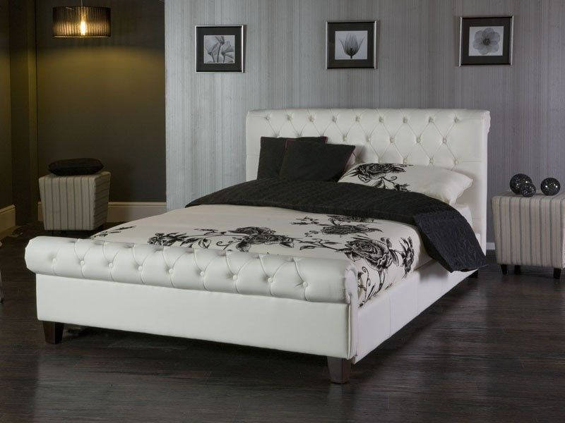 phoenix white sleigh faux leather bed frame