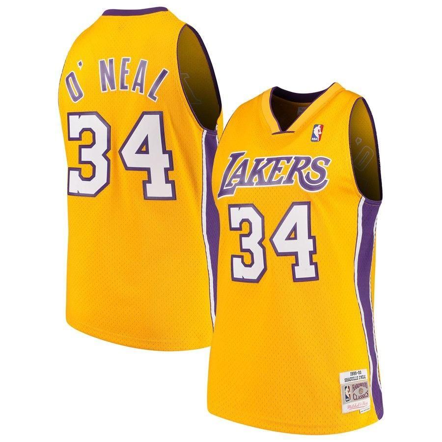 188c8758a Youth Los Angeles Lakers Shaquille O`Neal Mitchell   Ness Gold 1999-00 Hardwood  Classics Swingman Jersey