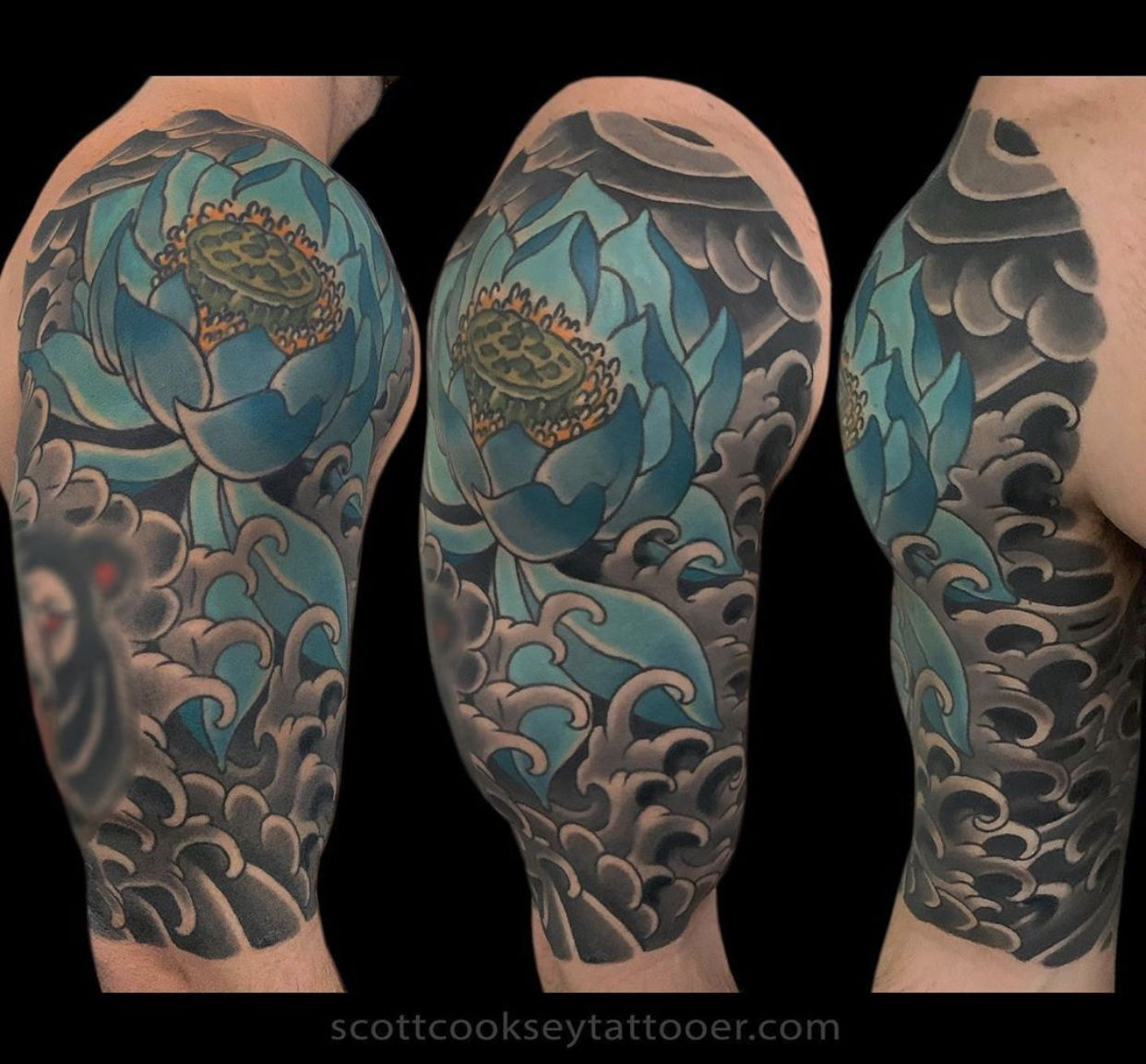 Traditional Japanese Lotus Tattoo By Scott Cooksey In 2020 Tattoos Star Tattoos Lone Star Tattoo