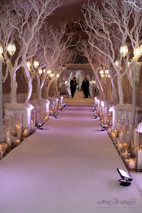 Winter Wonderland Christmas Wedding Ideas.Winter Wedding Aisle The Key Is Uplighting On The Branches