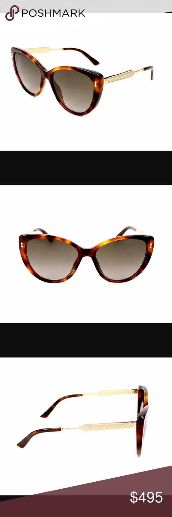 Gucci sunglasses Beautiful brand new from their summer 2016collection these plastic tortoise shell cat eye frames with gold temples that have great attention to detail on them. Classy and stylish this kind of frame will never go out of style! Brand new never worn Comes with authentic case cleaning cloth and proof of authenticity Gucci Accessories Glasses