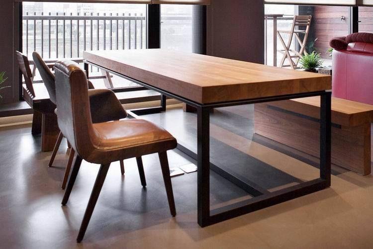 Rectangular de comedor de madera mesa de comedor combinación de