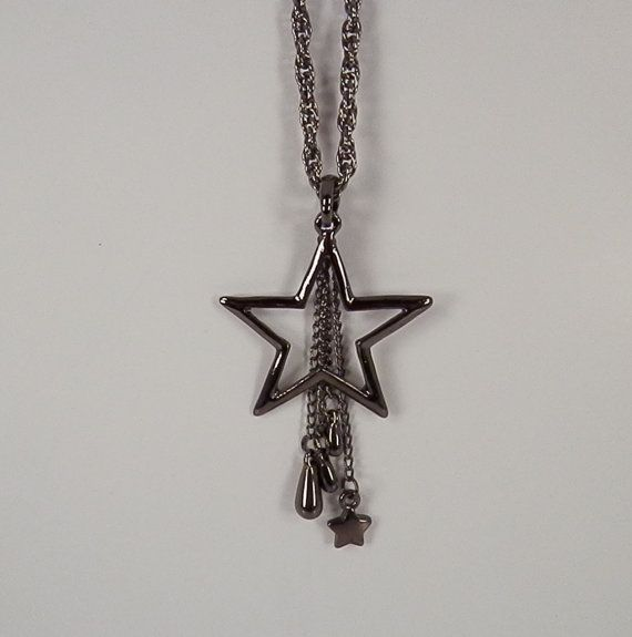 Black Star Pendant with Chain Tassels by DeesJewelryDesigns, $14.00