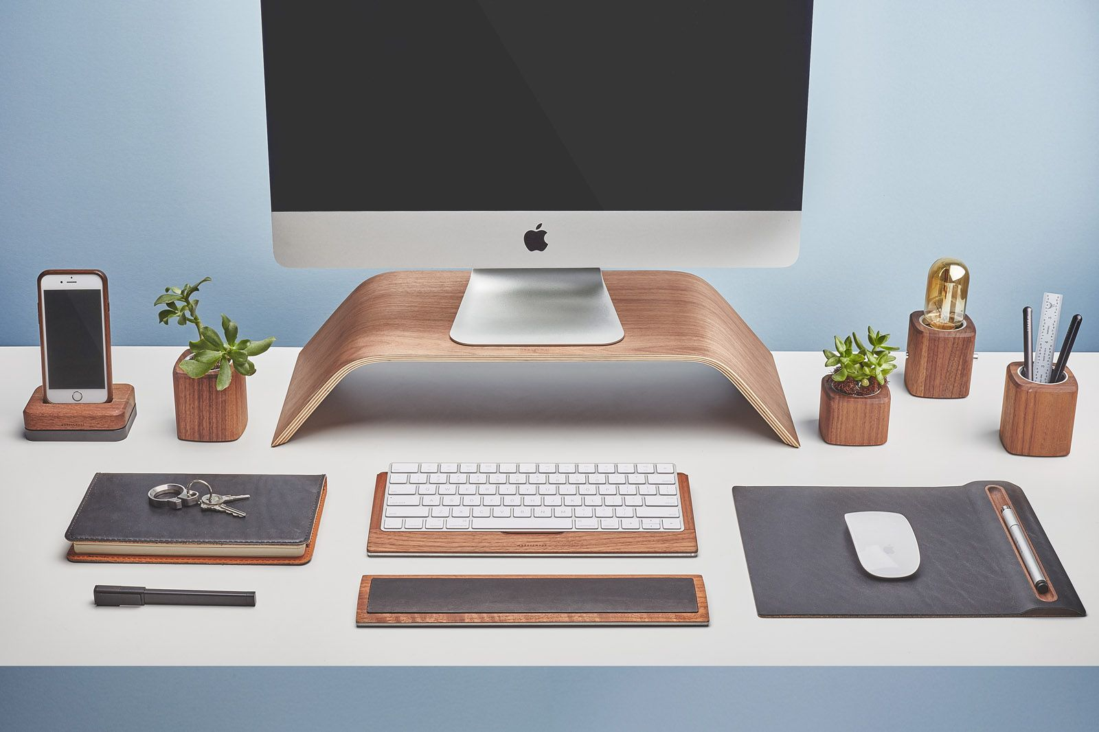 Nice Front View Of The Walnut Wood Grovemade Desk Collection With Walnut Wood  Monitor Stand, Leather And Cork Mouse Pad, Pen Cups, Desk Lamps, Planter,  ...