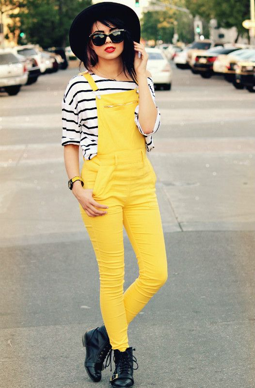 c91f238123f3 Street fashion: yellow overalls with black and white striped top, hat,  sunnies and booties.