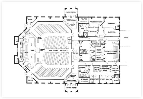 Free church building plans church designer church for Modern church designs and floor plans