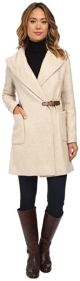 LAUREN by Ralph Lauren Buckle Front Wrap Coat