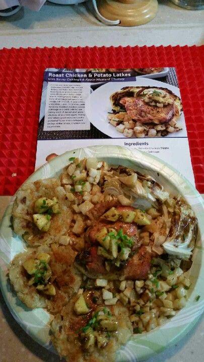 Roast Chicken & Potato Latkes With Savoy Cabbage & Apple Mustard Chutney